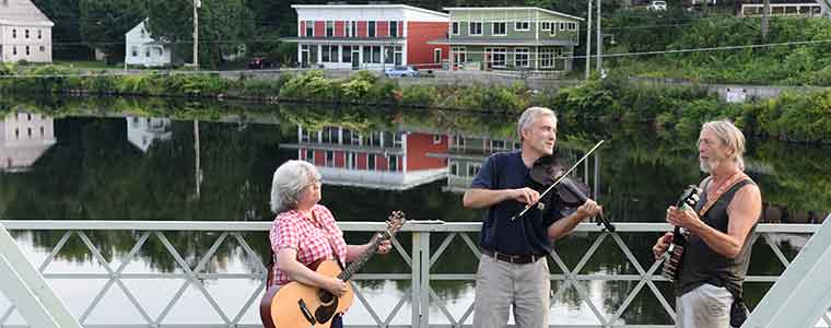Musicians on the Iron Bridge in Shelburne Falls